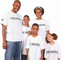 Family of 5 with white Live United t-shirts.